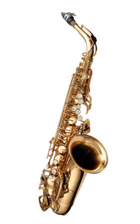 Alto Saxophone woodwind instrument isolated over white  photo