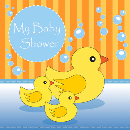 rubber ducky: New baby shower invitation Stock Photo