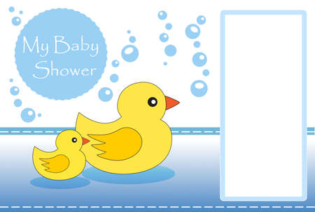 rubber ducky: New baby shower invitation with space for your text Stock Photo