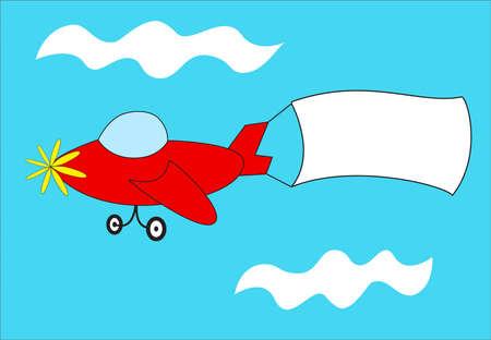 Un avión de dibujos animados con una bandera para el texto. Foto de archivo - 11297773