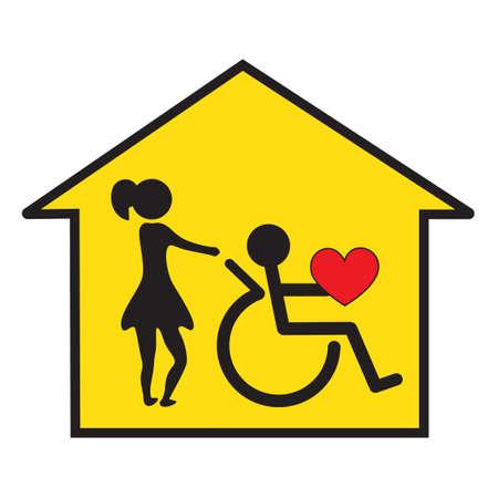 haushaltshilfe: Signal für die häusliche Pflege von Behinderten Lizenzfreie Bilder