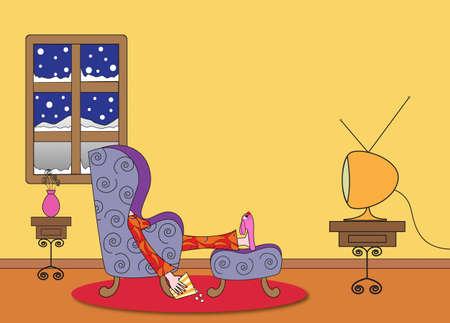 ver tv: Alguien viendo la televisión y palomitas de maíz de comer en un día frío de invierno