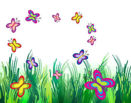 Beautiful shiny summer and colorful butterflies with copy space