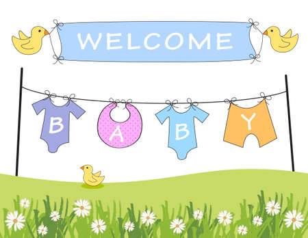 Baby arrival announcement with clothes line and birds holding a banner Stok Fotoğraf