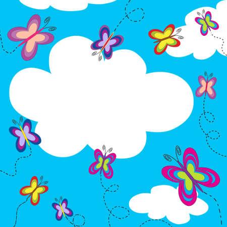 カラフルな蝶とコピー スペースと美しい光沢のある夏空 写真素材