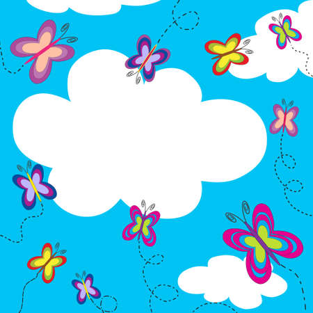 Beautiful shiny summer sky with colorful butterflies and copy space