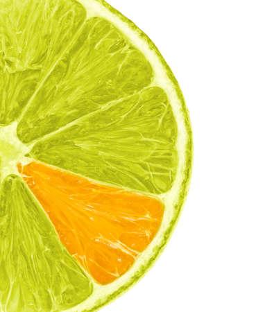 Schijfje citroen met unieke oranje tak op wit wordt geïsoleerd