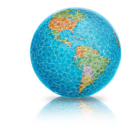 America earth globe puzzle illustration isolated on white  illustration