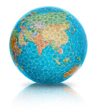 globe asia: Asia earth globe puzzle illustration isolated on white