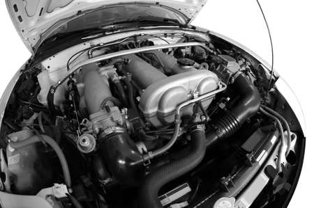 Car Engine black white photo