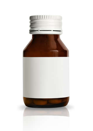 Vial of pills with blank label, isolated on white background  Stock Photo