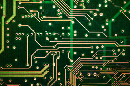 board: PCB Detail of  green circuit board tracks