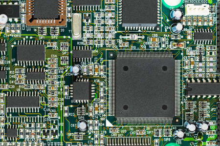 motherboard: PCB Closeup of electronic circuit board with CPU processor