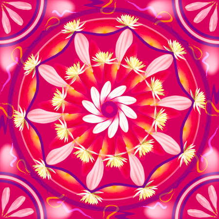 kaleidoscope: Floral mandala drawing sacred circle in shades of pink