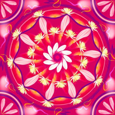 chakra awareness: Floral mandala drawing sacred circle in shades of pink