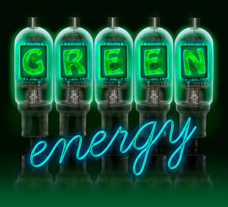 led light bulb: Words  GREEN energy  made with a row of color vacuum tubes with glowing letters inside isolated on black background