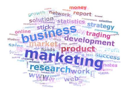 흰색 배경 위에 다채로운 비즈니스 마케팅 단어 구름 개념