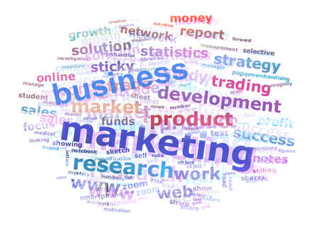Colorful Business Marketing Word Cloud Concept Over White Background photo