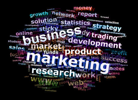 an illustration promoting: Colorful Business Marketing Word Cloud Concept Over Black Background