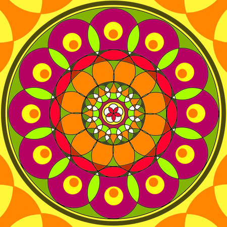 Mandala circular abstract pattern colorful floral kaleidoscopic image background photo