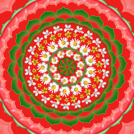 Mandala circular abstract pattern colorful floral kaleidoscopic image on red background photo
