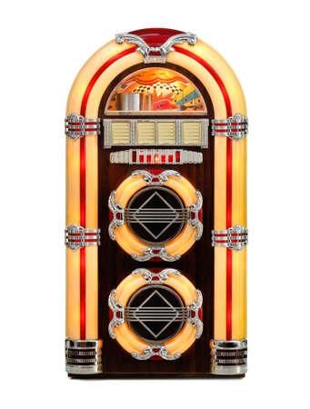 ジュークボックスの古典的なレトロな音楽レコード プレーヤー、分離のフロント ビュー