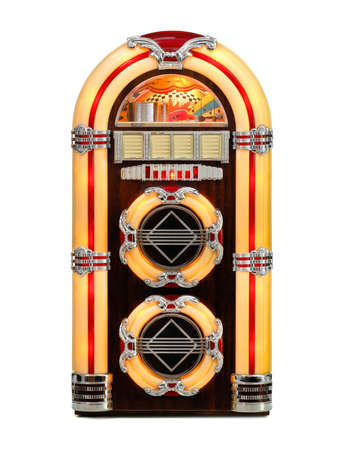 Jukebox classic, retro music record player, isolated front view photo