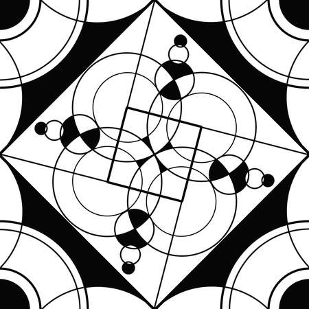 Geometric mandala sacred circle Black and White Coloring Outline Stock Photo - 13862393