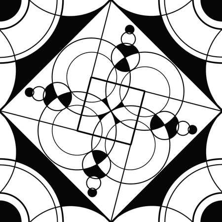 Naadloze: Geometrische mandala heilige cirkel Black and White Kleurplaat Overzicht Stockfoto