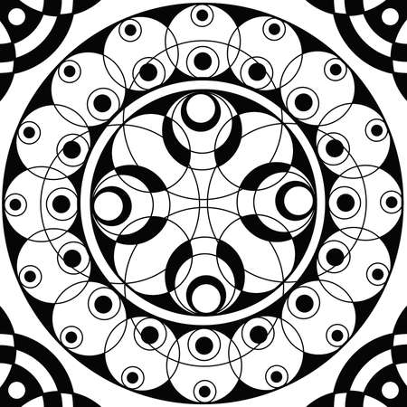 Geometrische mandala heilige cirkel zwart-wit Coloring Overzicht