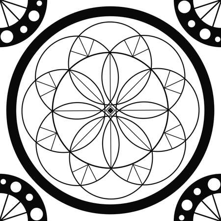 Geometric mandala sacred circle Black and White Coloring Outline