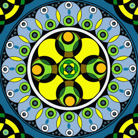 Geometric mandala drawing sacred circle on blue background Stock Photo - 13862402