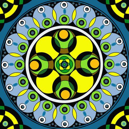 chakra awareness: Geometric mandala drawing sacred circle on blue background Stock Photo