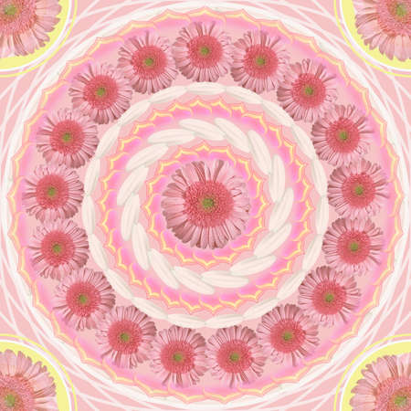 Floral mandala drawing sacred circle pink