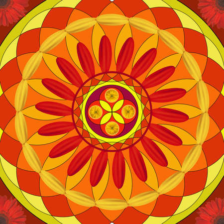 Floral mandala drawing sacred circle in red photo