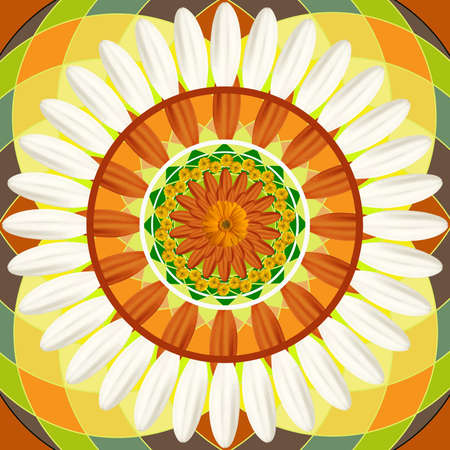 Kaleidoscopic floral pattern, mandala sacred circle photo