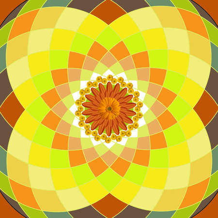 Kaleidoscopic floral pattern, mandala sacred circle yellow photo