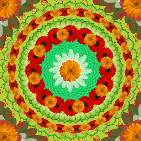 Mandala with orange and red flowers photo
