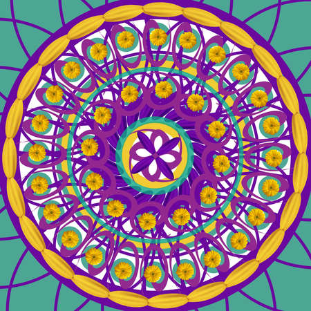 mandala: Kaleidoscopic mandala drawing sacred circle on blue background Stock Photo