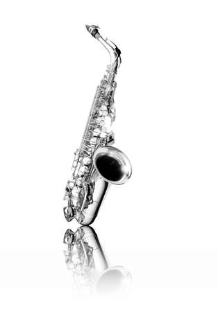 Saxophone woodwind instrument isolated over white with reflection, black and white