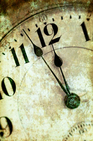 Vintage Grunge Clock Face Closeup, Antique Photo Look