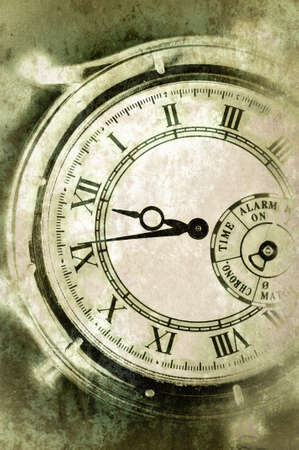 Vintage Grunge Clock Face Closeup, Antique Photo Look photo