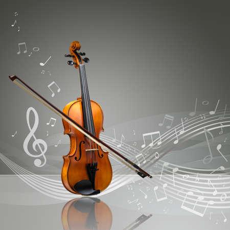 fiddlestick: Viol�n y palillo viol�n con notas musicales en una habitaci�n vac�a, copia espacio listo Foto de archivo