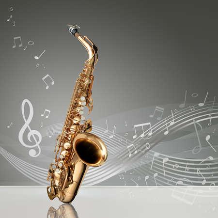 saxofon: Saxofón con notas musicales en una habitación vacía, copia espacio listo