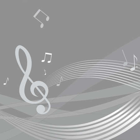musical score: Wavy score with musical notes on gray background