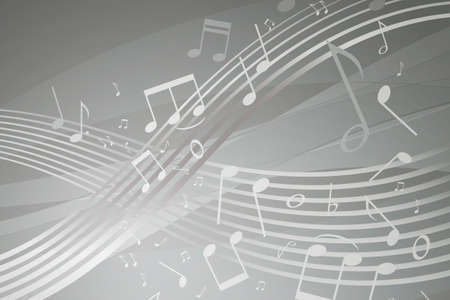 white sheet: Wavy score with musical notes on gray background