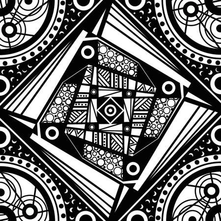 Geometric mandala sacred circle Black and White Coloring Outline photo