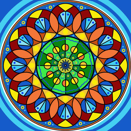 mandala: Floral mandala drawing sacred circle on blue background