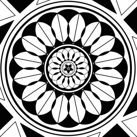 Geometric mandala sacred circle Black and White Coloring Outline Stock Photo - 16979846