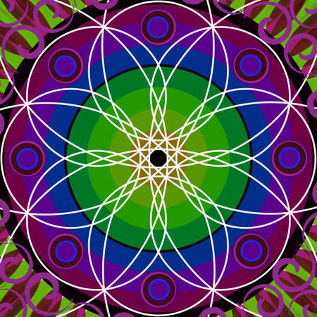 Floral mandala drawing sacred circle background photo